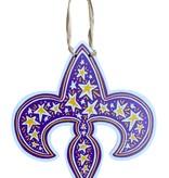 Purple & Gold Fleur de Lis Door Hanger