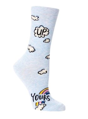Blue Q Up Yours Crew Socks