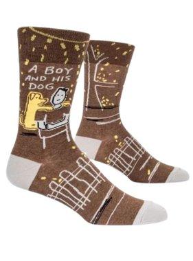 Blue Q Boy and His Dog Socks, Mens