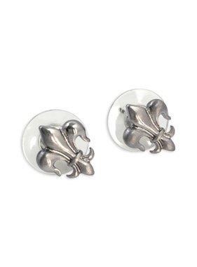 Tiny Fleur de Lis Earrings in Silver