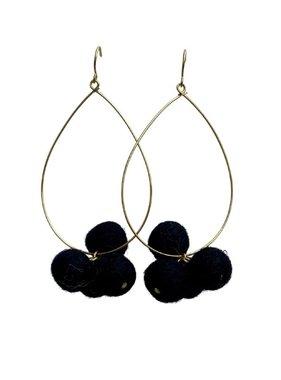 Black & Gold  Pompom Hoop Earrings