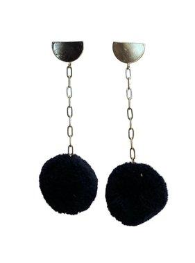 Black Pom Chain Earrings