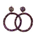 Purple & Gold Hoop Post Earrings