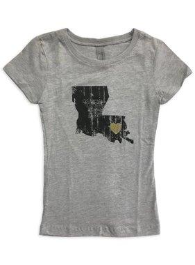 Louisiana Love Tween Tee, Black & Gold
