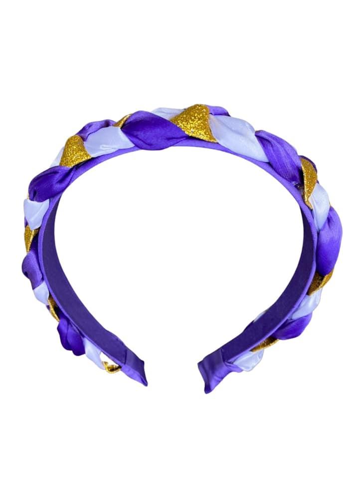 Purple & Gold Braided Hard Headband