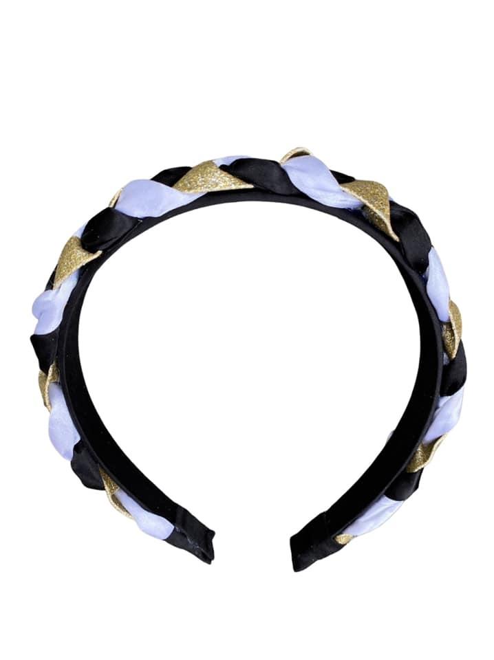 Black & Gold Braided Hard Headband