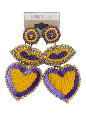 Purple & Gold Beaded Earrings, Lips & Heart