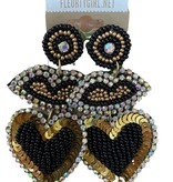 Black & Gold Beaded Earrings, Lips & Heart