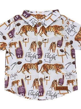 Purple & Gold Football Icons Button Down, Kids