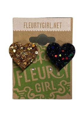 Black & Gold Mix Match Heart Stud Earrings
