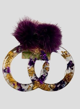 Purple & Gold Flake Hoop Earrings