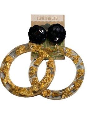 Gold Flake Hoop Earrings with Black Post