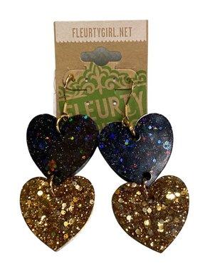 Black & Gold Heart Drop Earrings
