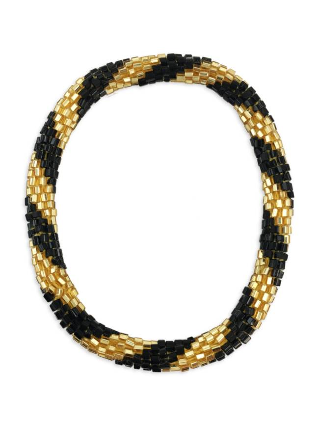 Black & Gold Nepal Roll On Bracelet