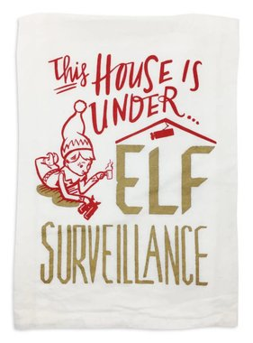 Elf Surveillance Christmas Towel
