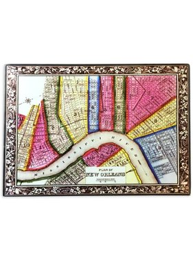 NOLA Map Tempered Glass Cutting Board