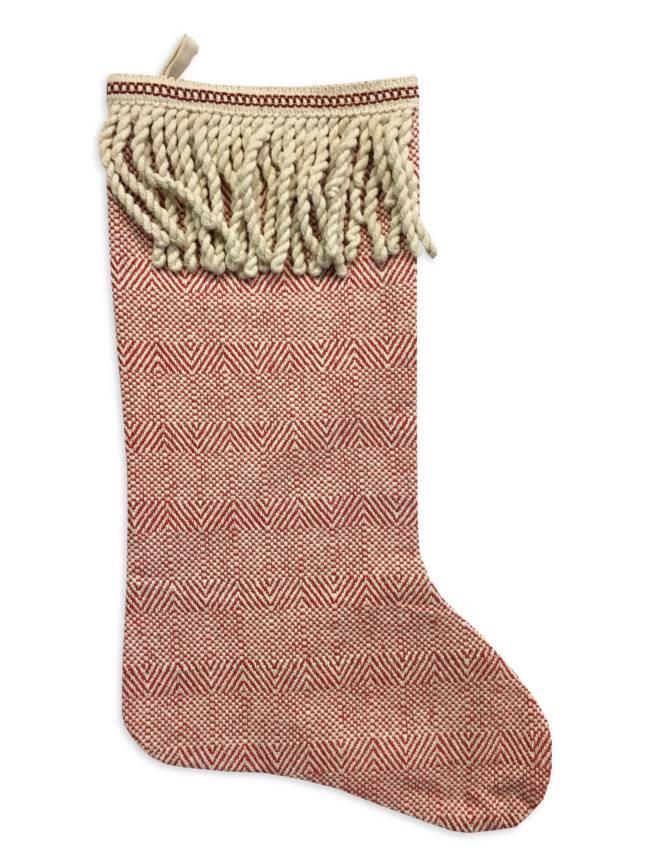 Cotton Fringe Christmas Stocking