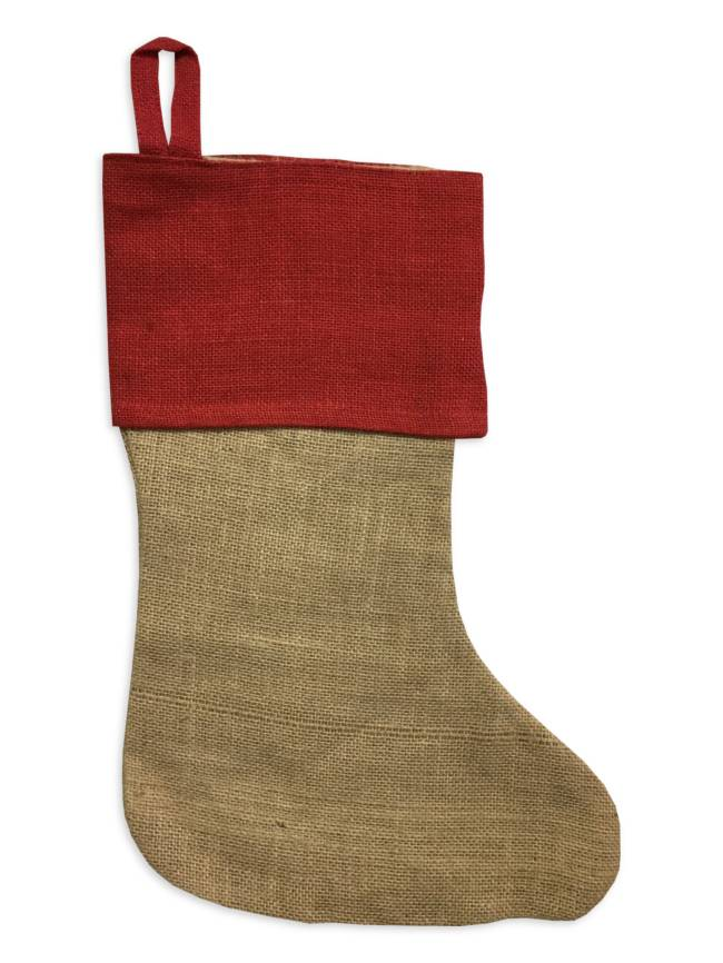 Burlap Christmas Stocking With Red Cuff