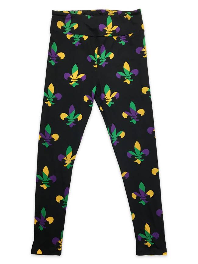Mardi Gras Stripe Fleur de Lis Leggings, Regular