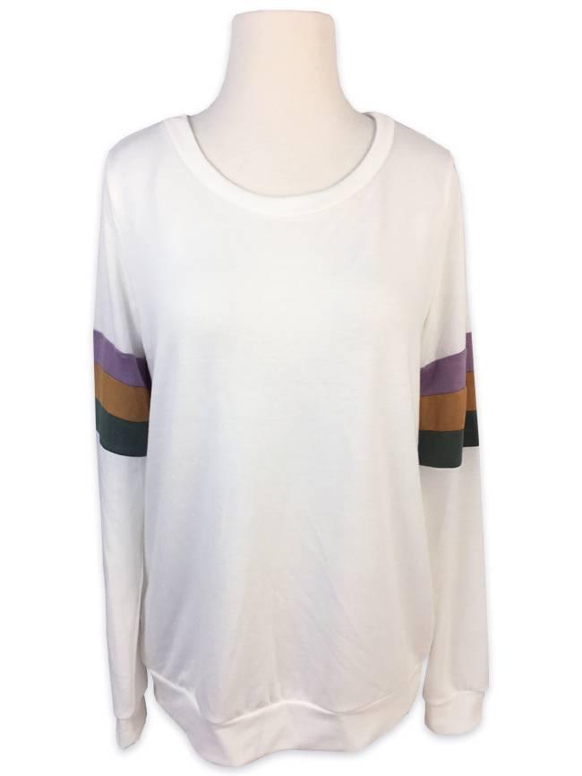 Mardi Gras Color Block SLEEVE Sweatshirt, Off White