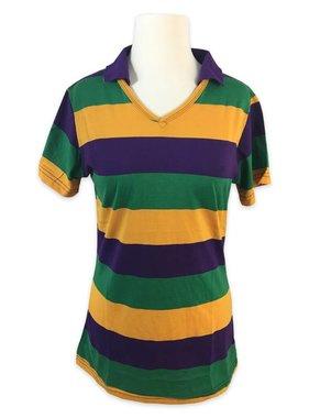 Ladies' V-neck Mardi Gras Polo Shirt