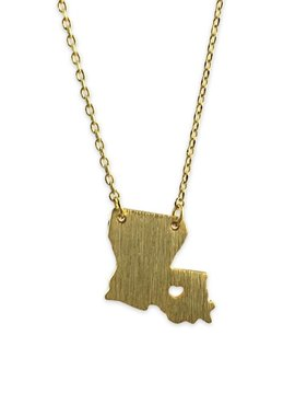 State With Heart Necklace, Gold