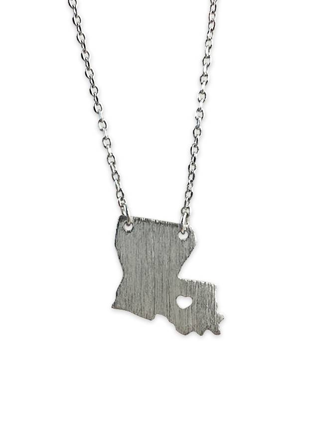 State With Heart Necklace, Silver