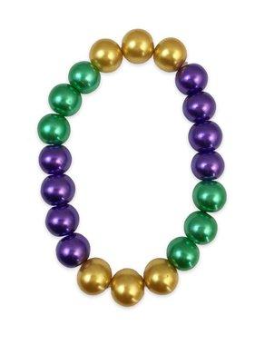 Mardi Gras Pearl Stretch Bracelet