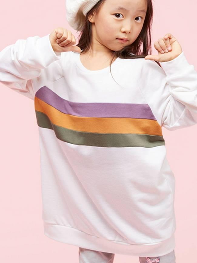 Mardi Gras TWEEN Color Block Sweatshirt, Off White