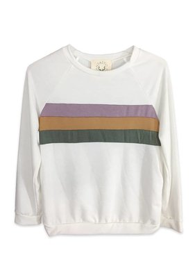 Mardi Gras TWEEN Color Block Sweatshirt, Off White
