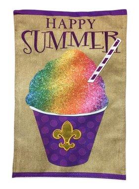 Summer Snoball Burlap Garden Flag