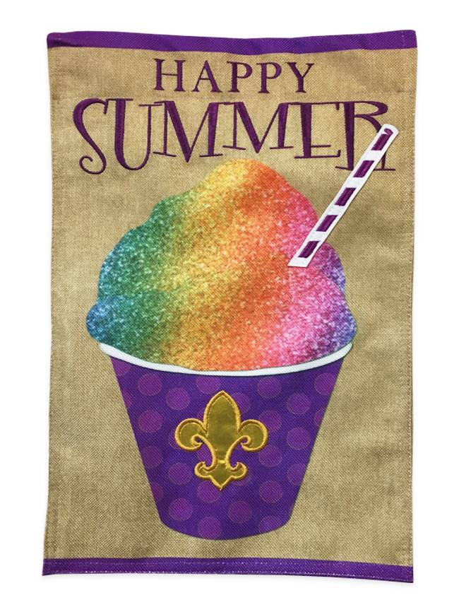Summer Snoball Burlap Garden Flag