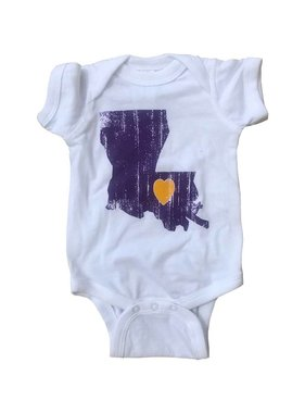 Louisiana Love Onesie, Purple & Gold