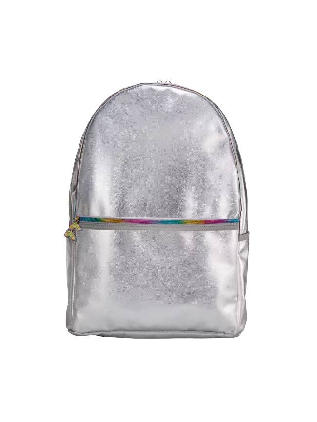 Silver Metallic Backpack with Rainbow Zipper