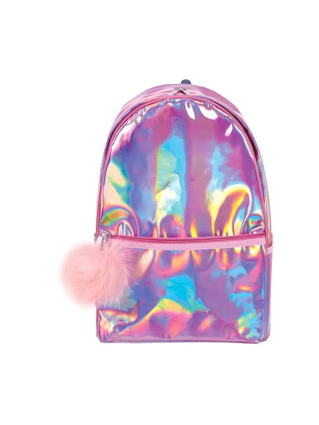 Pink Holographic Backpack with Pom Pom