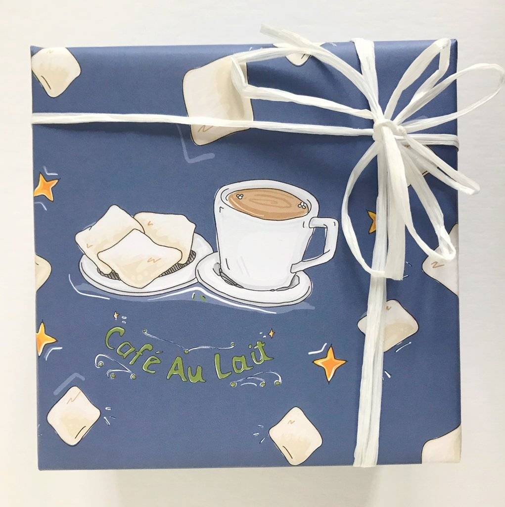 Cafe Au Lait Gift Wrap, Set of 3 Sheets