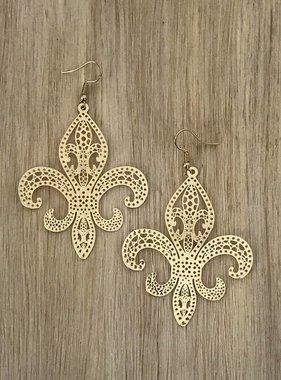 Thin Gold Fleur de Lis Earring
