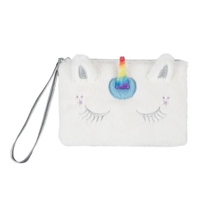 Bag, Wristlet, Unicorn Faux Fur