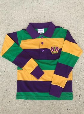 Kids Mardi Gras Crown Long Sleeve Polo