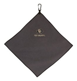 GO BUFFS GREY MICROFIBER TOWEL W/CARABINER- 15 X 15