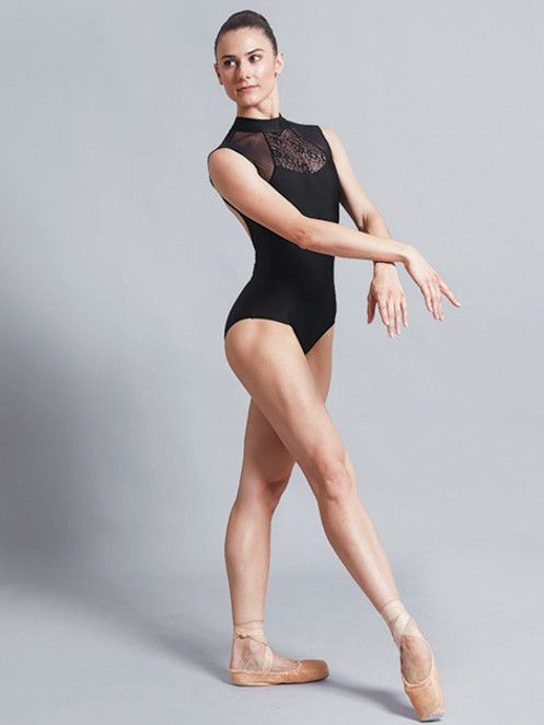 Ballet Rosa ANITA-High Neck Leo w/ Mesh Lace