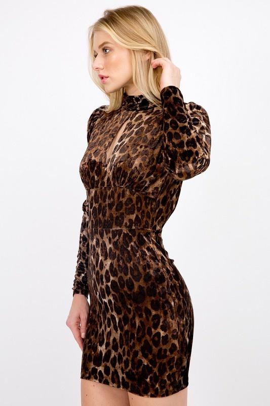Feline Fine Velvet Dress