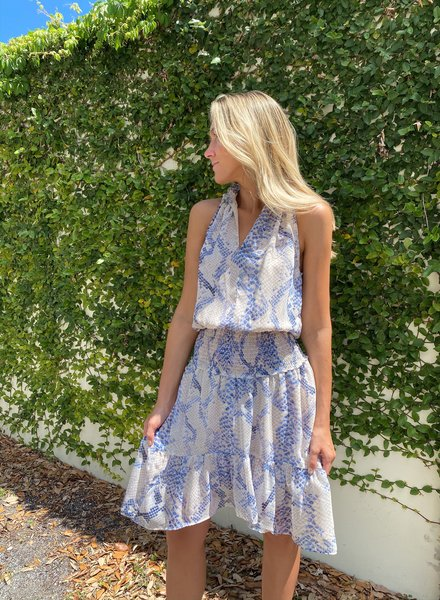 Azure Snakeskin Dress