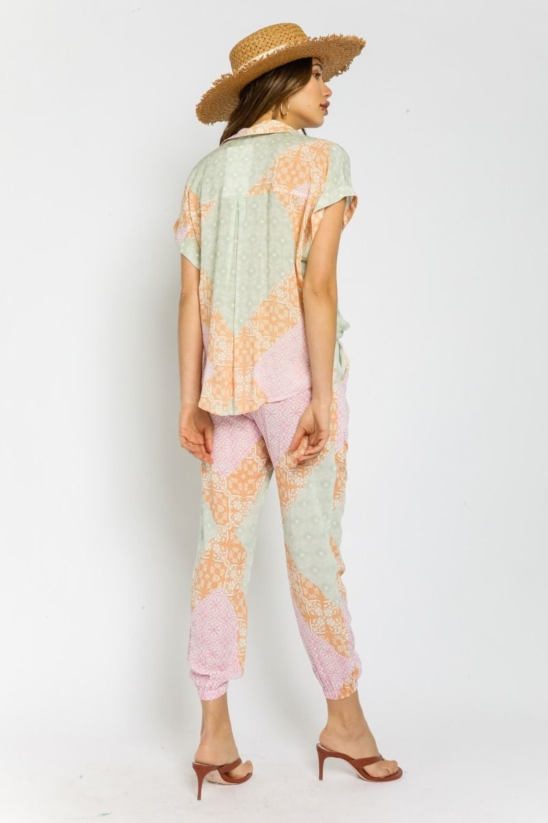 Sorbet Patchwork Button-Up