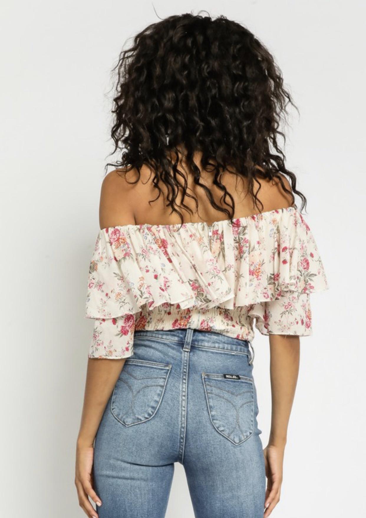 Pink Blooms Off-the-Shoulder Top