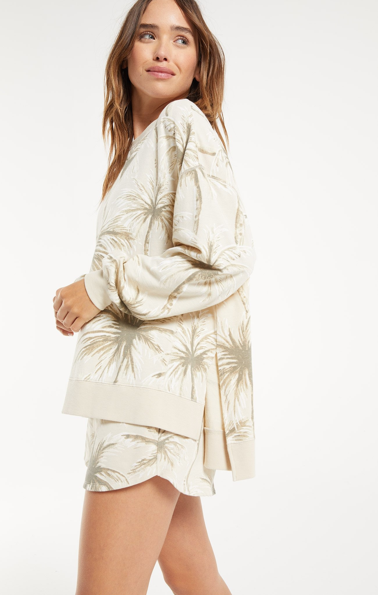 Coconut Palm Weekender Pullover