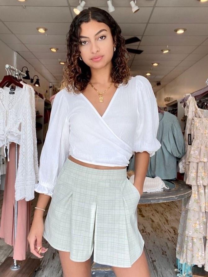 Avery Plaid Linen Shorts