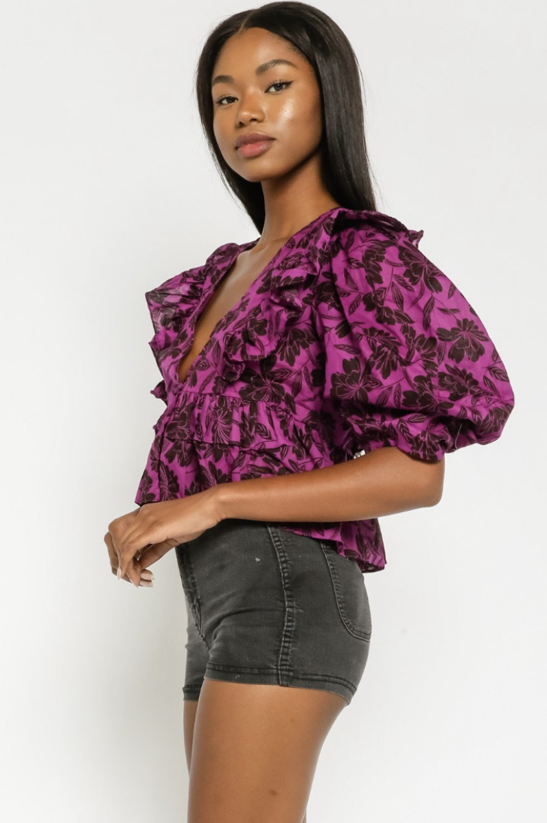 All The Floral Vibes Ruffle Top