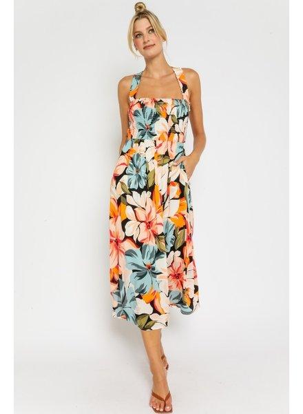 Tropical Floral Midi Dress