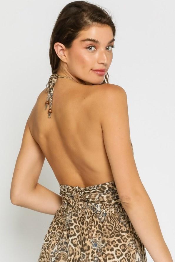 Brigitte Leopard Wrap Halter